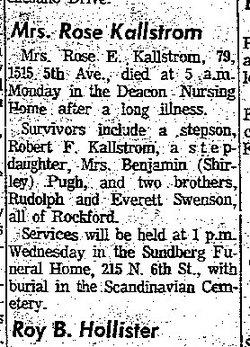 Mrs Rose E. <i>Swenson</i> Kallstrom