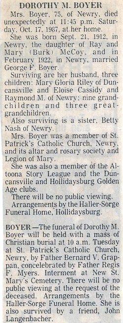 Dorothy M. <i>McCoy</i> Boyer