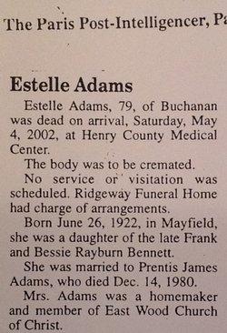 Estelle <i>Bennett</i> Adams