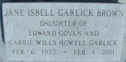 Jane Isbell <i>Garlick</i> Brown