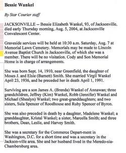 Bessie Elizabeth <i>Smith</i> Wankel