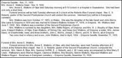 Anna E. Annie <i>Morris</i> Watkins