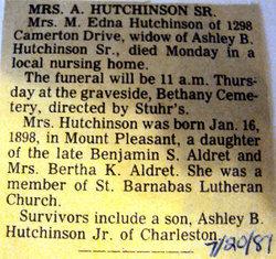 M. Edna <i>Aldret</i> Hutchinson