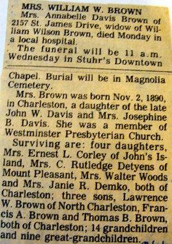 Annabelle Ophelia <i>Davis</i> Brown