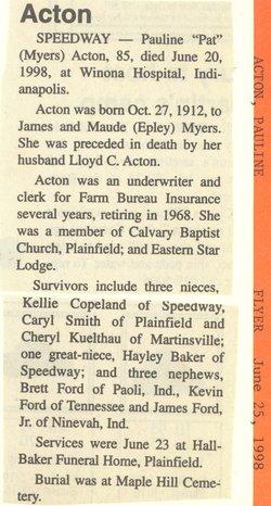 Pauline Pat <i>Myers</i> Acton