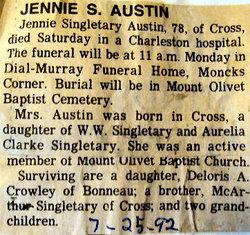 Jennie <i>Singletary</i> Austin