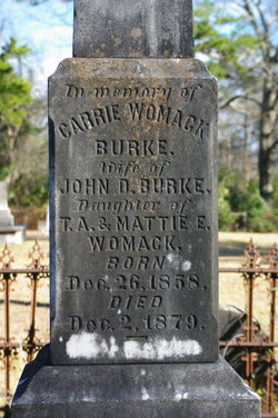 Mary Caroline Carrie <i>Womack</i> Burke