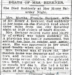 Mrs Martha Francis <i>Seymour</i> Berkner