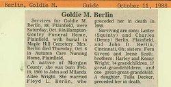 Goldie M <i>Wright</i> Berlin