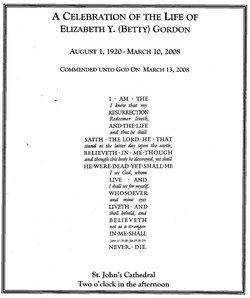 Elizabeth Howe Betty <i>Yoe</i> Gordon