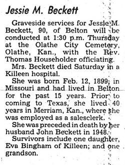 Jessie May <i>Bennett</i> Beckett
