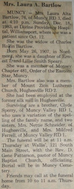Laura <i>Speary</i> Bartlow