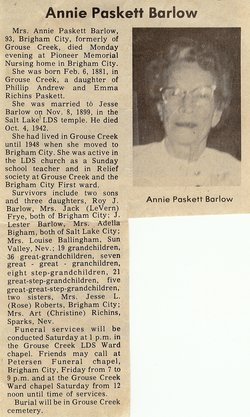 Annie <i>Paskett</i> Barlow