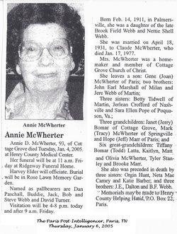 Annie D <i>Webb</i> McWherter