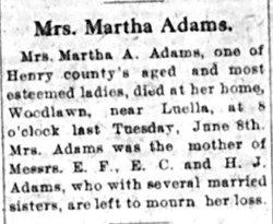 Martha <i>Atkins</i> Adams