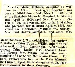 Mabel Rebecca <i>Speicher</i> Mishler