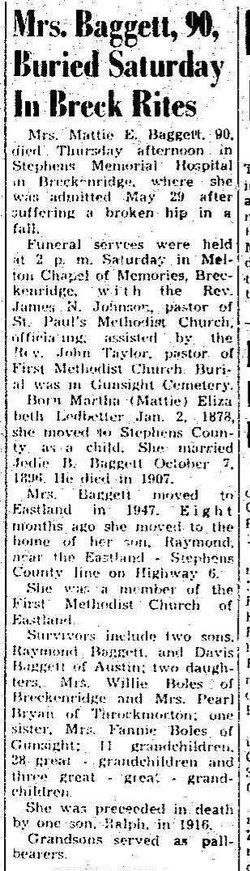 Martha Elizabeth <i>Ledbetter</i> Baggett