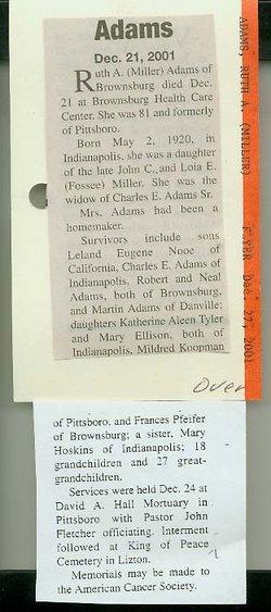 Ruth A <i>Miller</i> Adams