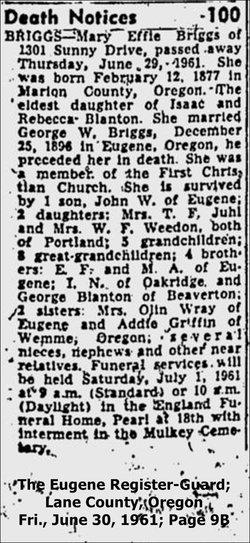 Mary Effie <i>Blanton</i> Briggs