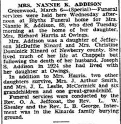 Nannie <i>Kinard</i> Addison
