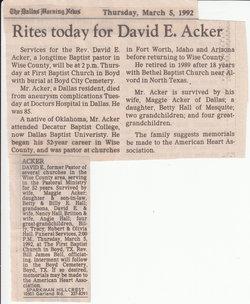David Ernest Acker