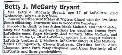 Betty J <i>Malicoat</i> Bryant