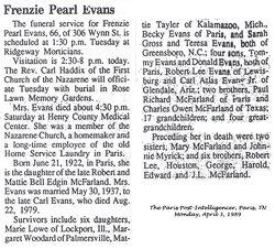Frenzie Pearl <i>McFarland</i> Evans