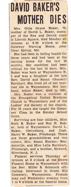 Otta Grace Ottie <i>Barnhart</i> Baker