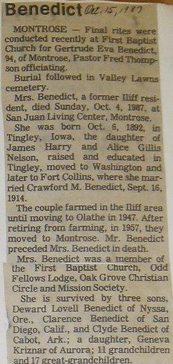Gertrude Eva <i>Nelson</i> Benedict