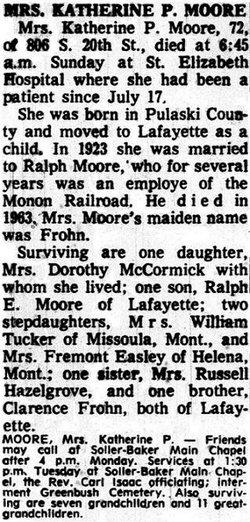 Katherine P. Katie <i>Frohn</i> Moore