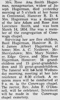 Rose Ann <i>Smith</i> Hagerman