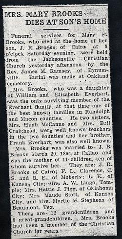 Mary Frances Mollie <i>Everhart</i> Brooks
