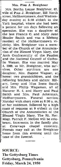Bertha Louise <i>Smith</i> Breighner