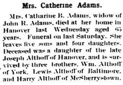 Catherine Barbara <i>Althoff</i> Adams