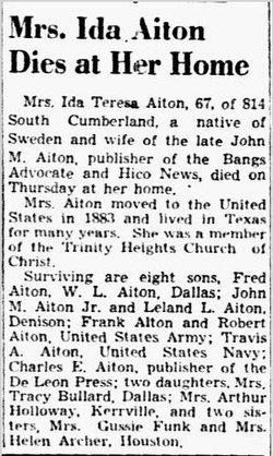 Ida Theresa <i>Kullenberg</i> Aiton