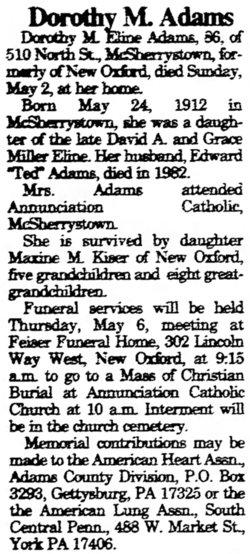 Dorothy M <i>Eline</i> Adams
