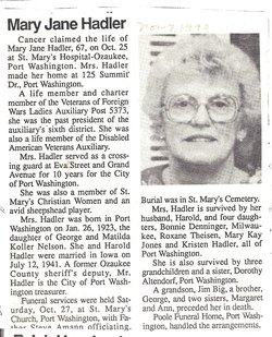 Mary Jane <i>Nelson</i> Hadler