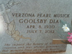Verzona Pearl Goolsby <i>Musick</i> Dial