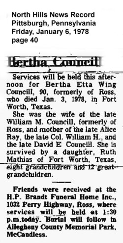 Bertha Etta <i>Wing</i> Councill