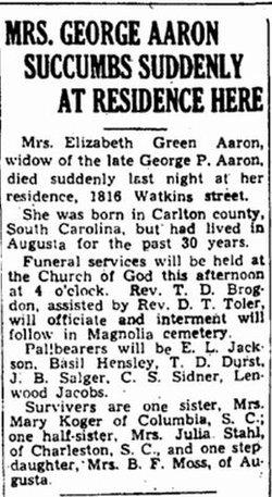 Elizabeth <i>Green</i> Aaron