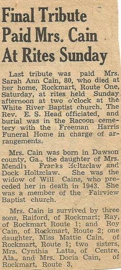 Sarah Ann <i>Holtzclaw</i> Cain
