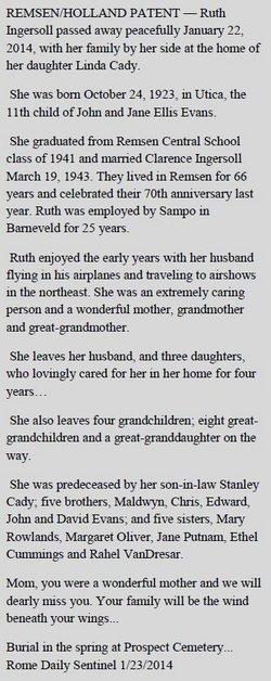 Ruth J <i>Evans</i> Ingersoll