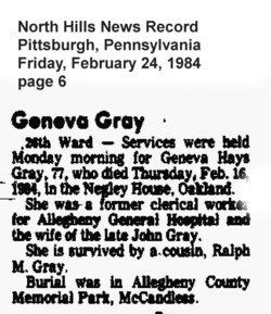 Geneva <i>Hays</i> Gray