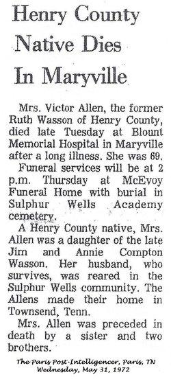 Ruth <i>Wasson</i> Allen