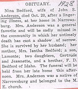 Nina <i>Bedford</i> Anderson