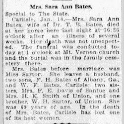 Sarah Ann I. <i>Sarter</i> Bates
