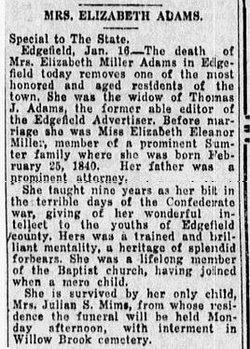 Elizabeth Eleanor <i>Miller</i> Adams
