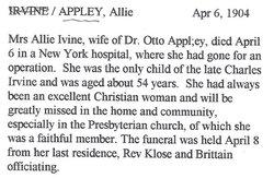 Alice L. Allie <i>Irvine</i> Appley