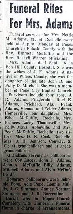 Jeanette Nettie Eufrasia <i>Mitchell</i> Adams