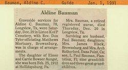 Aldine C. <i>Aungst</i> Bauman